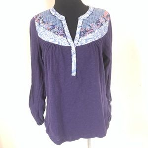 ANTHROPOLOGIE AKEMI KIN BLUE BOHO TOP SIZE MEDIUM